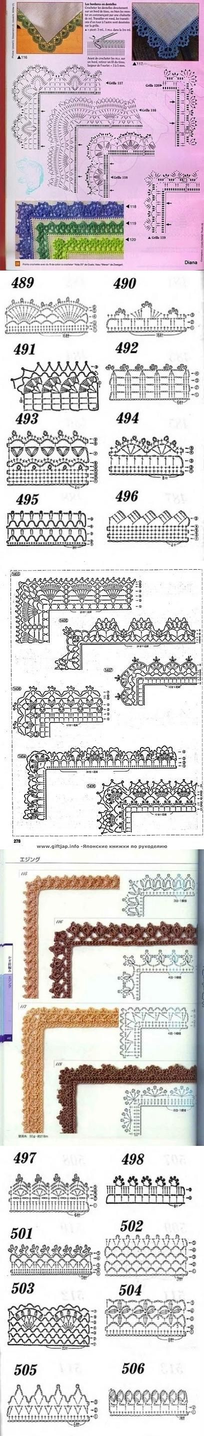 Edging - charted only, many with corners Many free crochet edging patterns