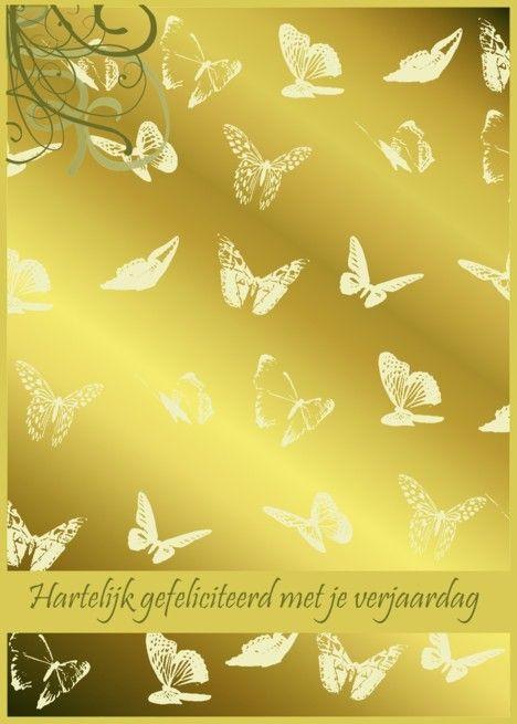 Hartelijk gefeliciteerd met je verjaardag gold butterflies card