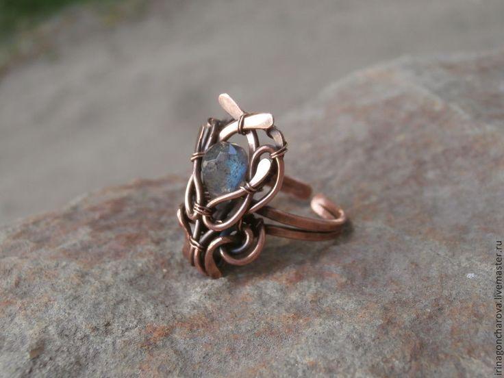 Купить Кольцо медное Южная ночь - синий, металлическая фурнитура, медь, медное кольцо