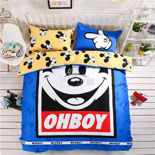 3D Cartoon Mickey Minnie Mouse Bedding Set Queen Size 100% Cotton