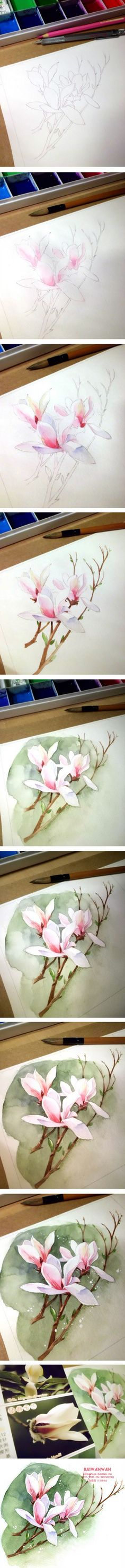 Beautiful step by step photos to complete this lovely watercolor flower.   夜__静寂的港湾采集到插画