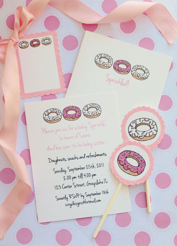 'Sprinkle Donuts' invitation and paper goods (great for a second baby shower)  I like this because it includes the older child too :)