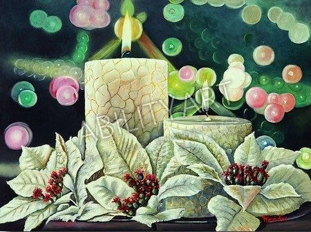 """Triantafillos ILIADIS è originario della Grecia. Ha creato l'opera """"Candele bianche"""", dipinta con l'utilizzo  esclusivo della bocca. La tecnica utilizzata è quella ad olio; il formato originale è 36x48 cm.  https://www.abilityart.it/candele-bianche.html"""