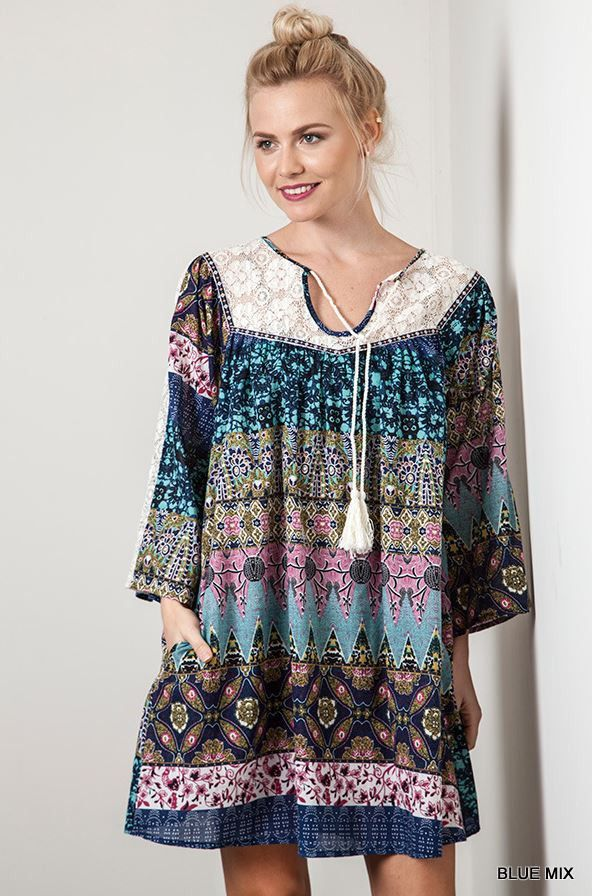 Let It Be Dress - Blue Mix Boho Indie Trendy Online Boutique Umgee USA – Angel Heart Boutique