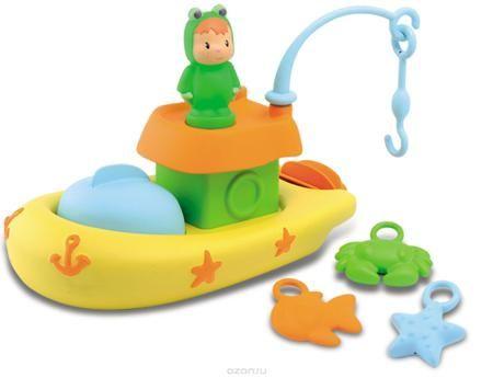 """Smoby Игрушка для ванной Рыбацкая лодка  — 1046р. -------------- Набор для купания """"Рыбацкая лодка"""" непременно понравится вашему малышу, он будет с удовольствием принимать ванну и ловить на удочку морскую звезду, краба и рыбку. У лодки есть сборный капитанский мостик, а на верхушке его закрепляется фигурка и удочка, состоящая из двух частей. На конце удочки - крючок, которым нужно ловить морских обитателей. На лодке имеется блюдце, под которое можно складывать улов, или на котором может…"""