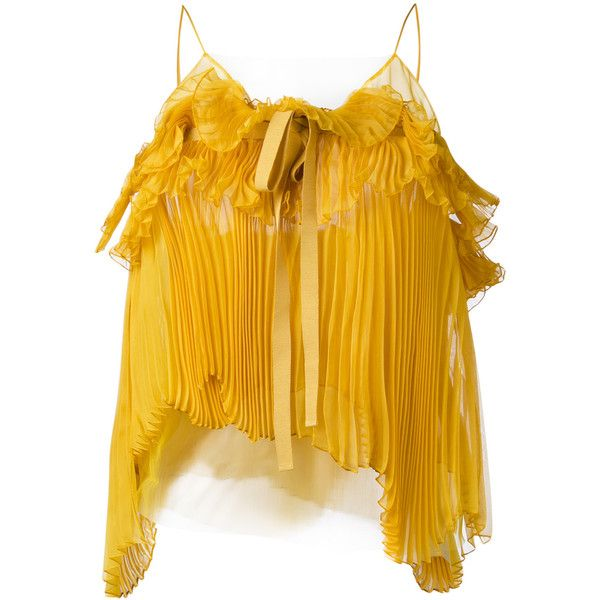 Rochas pleated bow cami (9.096.160 IDR) ❤ liked on Polyvore featuring intimates, camis, shirts, tops, yellow, yellow camisole, rochas and yellow cami