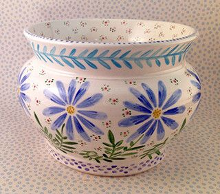 Pottery * Cache Pot Blue Daisies
