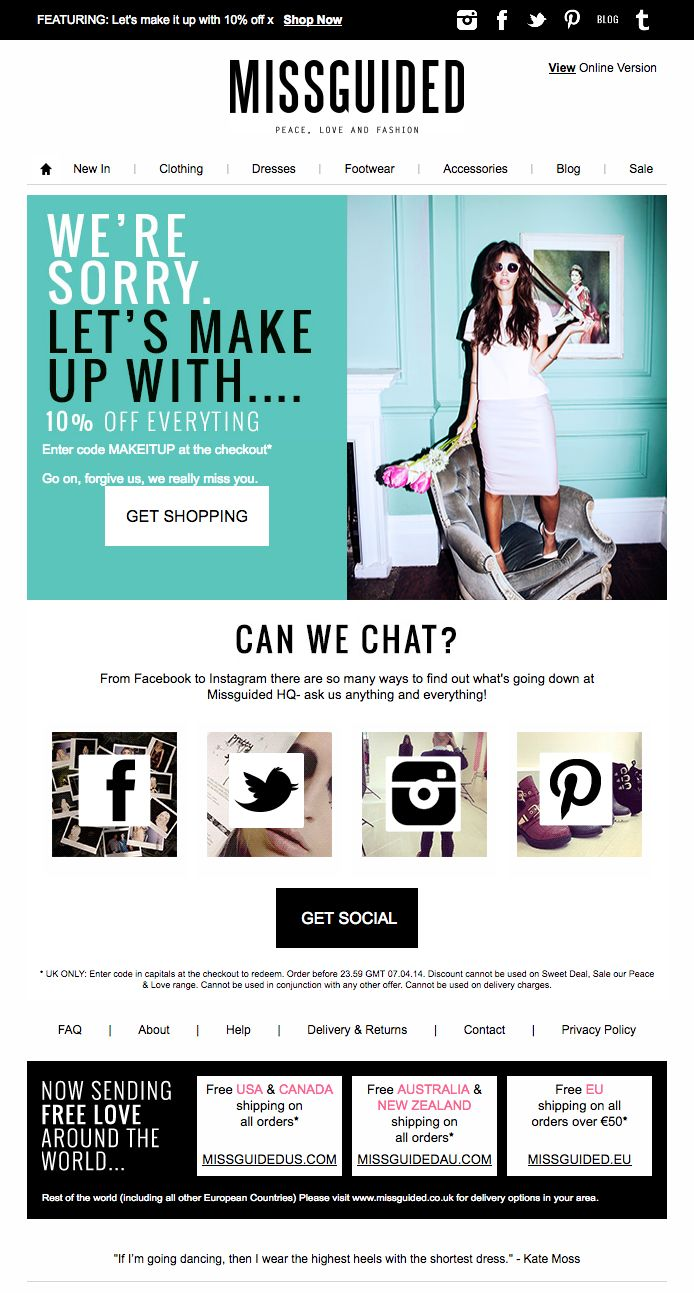 Best practice re-engagement email design from MissGuided. See the code here - https://www.kuratedemail.co/email-miss-guided