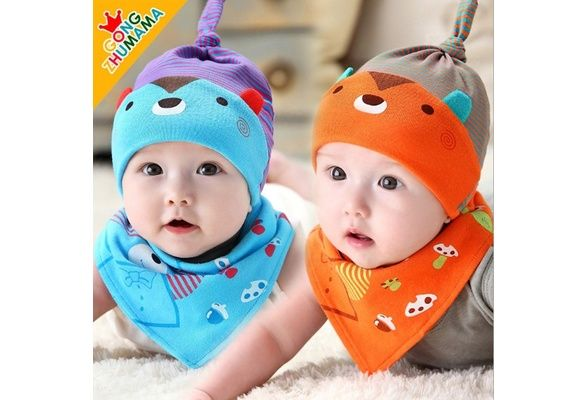 Sleep cap with Bear pattern, cap and Triangle towel Neonatal (2 sets) cap Wai: 44-47cm $13 USD #wish #onlineshopping #shoppingmadefun #fashion #gift #creativeliving #householdgoods #homedecor #home