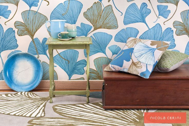 Ginkgo Blue/Green Wallpaper, Ginkgo Green Rug, Ginkgo Blue/Green Fabric, www.nicolacerini.com