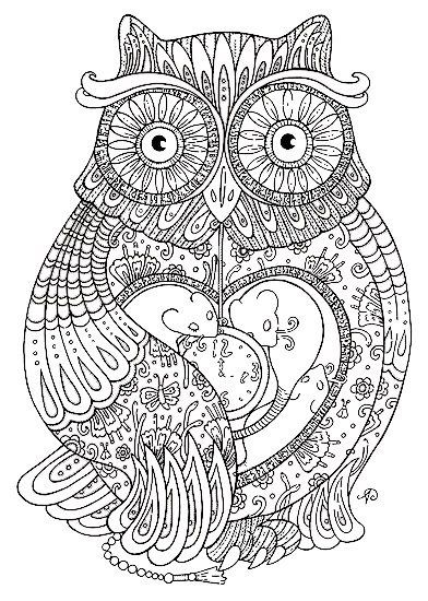 Раскраска-антистресс сова | Раскраски, Книжка-раскраска ...