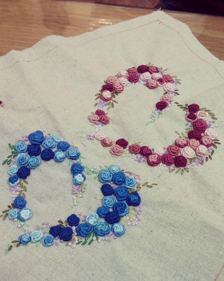 #Embroidery#stitch#needlework#Bullion Rose Stitch #프랑스자수#일산프랑스자수#자수 #블루하트,핑크하트로 사랑을 표현하세요~~♥