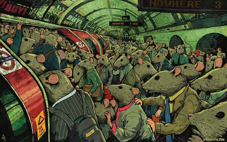"""Parody of the Rat Race""  Steve Cutts is a London-based illustrator and animator who uses powerful images to criticize the sad state of society."