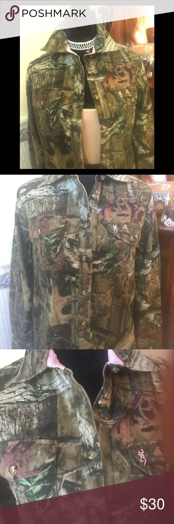 Browning & co. Camouflage shirt This has never been worn. Finally, outdoor ladies, like me, don't have to wear guys shirts.  Women's cut and softness with a bit of sexiness as well. Browning & co. Tops Button Down Shirts
