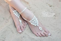 This is a simple pattern worked in the round. Beautifully simple Barefoot Sandals - free. Lace #2 yarn
