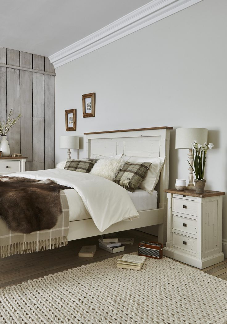 Create a serene and stylish bedroom with classic cream country-style wooden furniture. #homedecor #bedroom #interiors