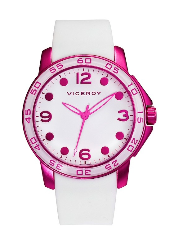 #reloj @Lucy Madge para mujer con caucho blanco y caja rosa fluor