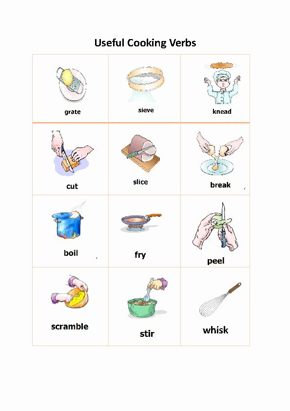 Basic Cooking Terms Worksheet Answers Best Of 82 Free Cooking Worksheets Teaching Ell Imperative Sentences Worksheets