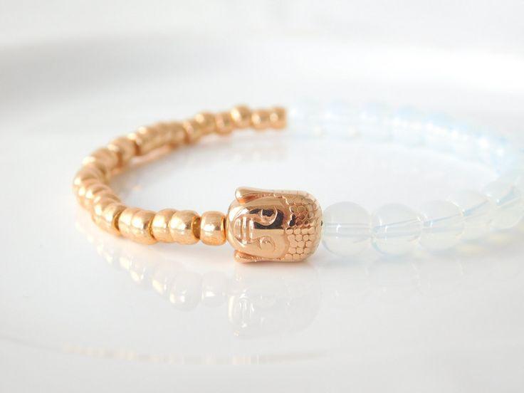 Armbänder - Buddha Armband Roségold/Opalweiß - ein Designerstück von mermaids_and_divas bei DaWanda