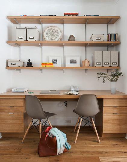 7-Day Plan: Get a Spotless, Beautifully Organized Home Office #transitional home office by indi interiors