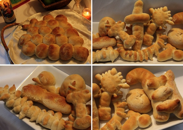 Symbolic Breads for St. Joseph Altar - easily made out of frozen dinner roll dough by the kids