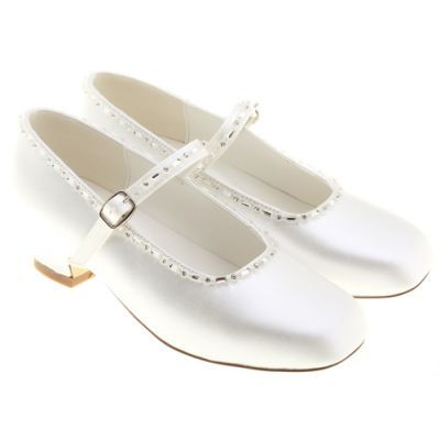 white dress shoes for girls | Girls White Shoes on Girl Communion Shoes In Satin White Decorated ...