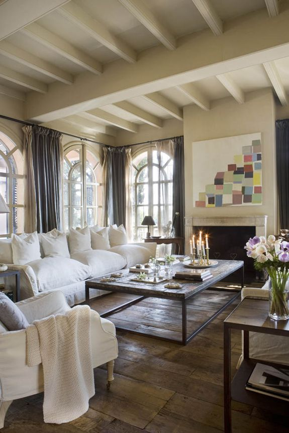 Rustic Chic Farmhouse - the great room: lovely monochromatic colors, gorgeous windows: Farmhouse Chic, Coffee Tables, Design Interiors, Architecture Interiors, Interiors Design, Rustic Chic, Window Treatments, Beaches Houses, Farmhouse Living Rooms
