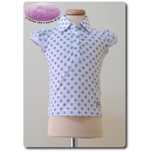 Maglia cotone manica corta con collo a camicia.