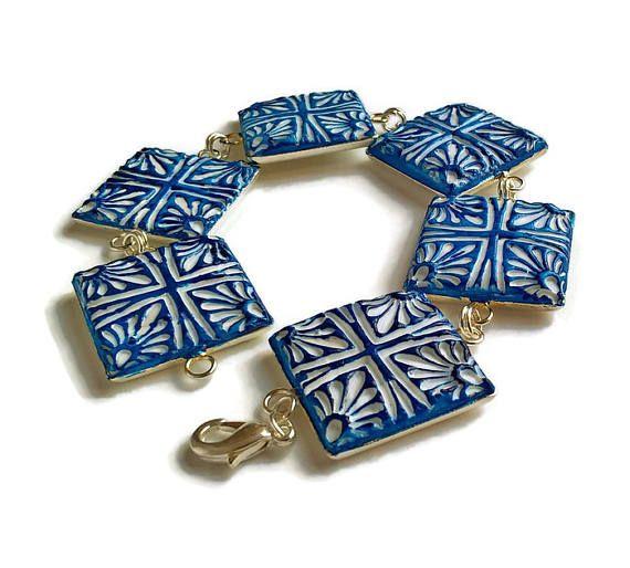 Portuguese tiles bracelet ceramic bracelet tile bracelet
