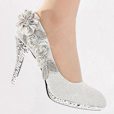 "$23.45, 4"" heel 1/2"" platform  Silver Vogue lace Flowers Glitter Crystal High Heels Wedding Bridal Shoes | eBay"