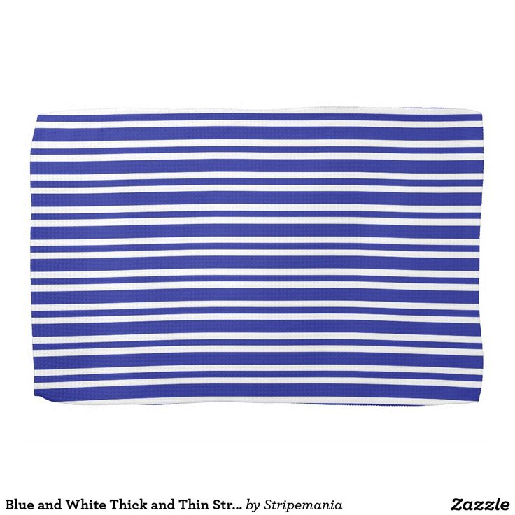 Blue and White Thick and Thin Stripes Hand Towel