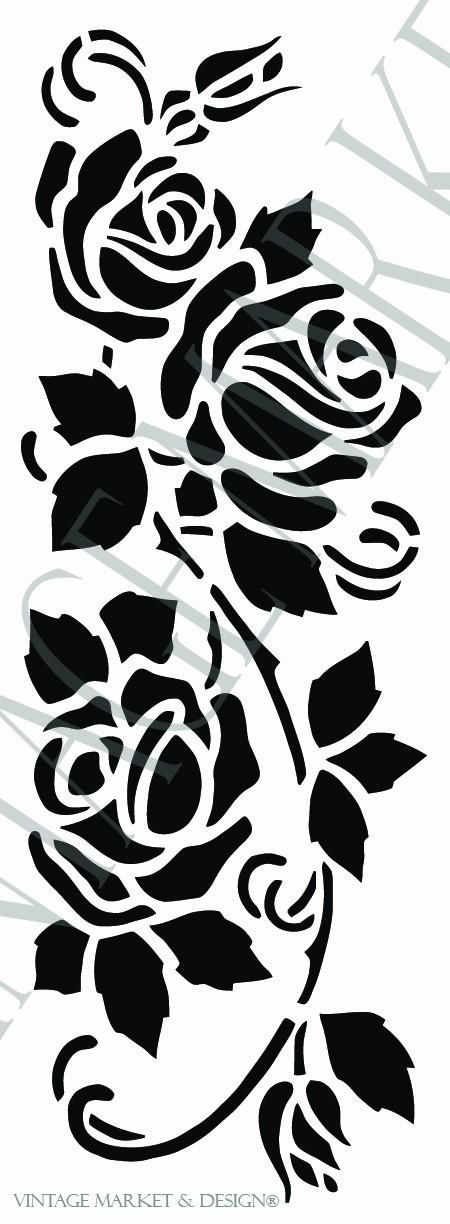Cottage Rose Vine Stencil-9876 , VM&D Stencils - Vintage Market And Design, Vintage Market And Design  - 1