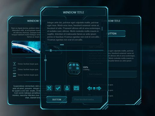 Holo UI is a beautiful Sci-Fi UI for Unity.    The package contains custom scripts. All the scripts are in C#.  The ui contains many custom elements such as: Windows. Radio toggles. Small loading animation. Big loading bar. Tooltip box. Navigation arrow buttons. Three different size buttons (tiny, small and normal). Icon buttons. Table window. Custom cursor.   PSD File included.  Live preview here.