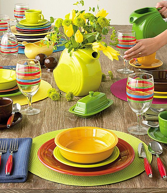 Fiestaware - Pretty Setting for Summer the fun of fiestaware is mixing and matching. Love these colors together Whittington I like the pitcher as a vase on ...  sc 1 st  Pinterest & 65 best Fiestaware Table Ideas images on Pinterest | Fiesta ware ...