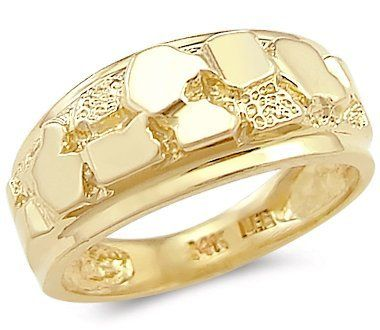 14k solid yellow gold new mens nugget ring band