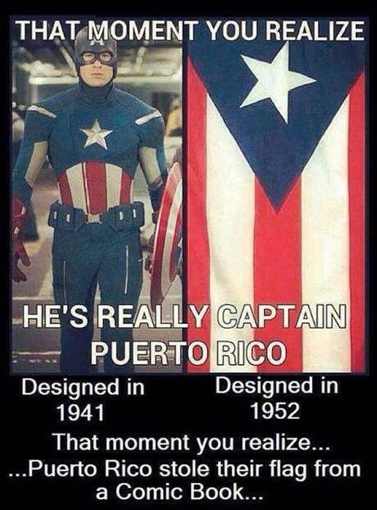 The moment you realize the image is wrong!! The flag was designed in 1892, following Cuba's flag design. #CaptainAmerica #getyourfactsright