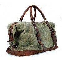#PZ1 'Vamp 1 Vintage'™ torba podróżna płótno-skóra, Unisex - zielona