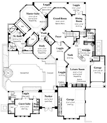 Floor plan inner courtyard with pool interesting house for Inner courtyard house plans