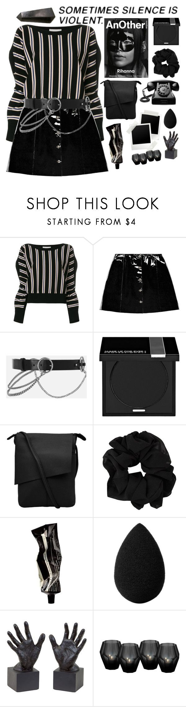 """""""Sometimes silence is violent."""" by shadowofday ❤ liked on Polyvore featuring 3.1 Phillip Lim, Veil London, Topshop, Alexander McQueen, MAKE UP FOR EVER, Aesop, beautyblender, Dot & Bo, Eichholtz and NOVICA"""