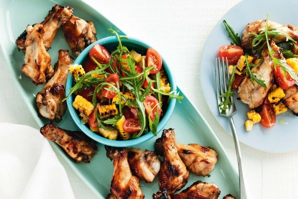 Sticky chicken drumettes with grilled corn and rocket salad main image