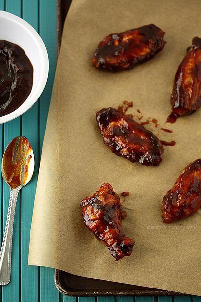 Jack Daniel's Honey Barbecue Baked Chicken Wings from chocolatemoosey.com
