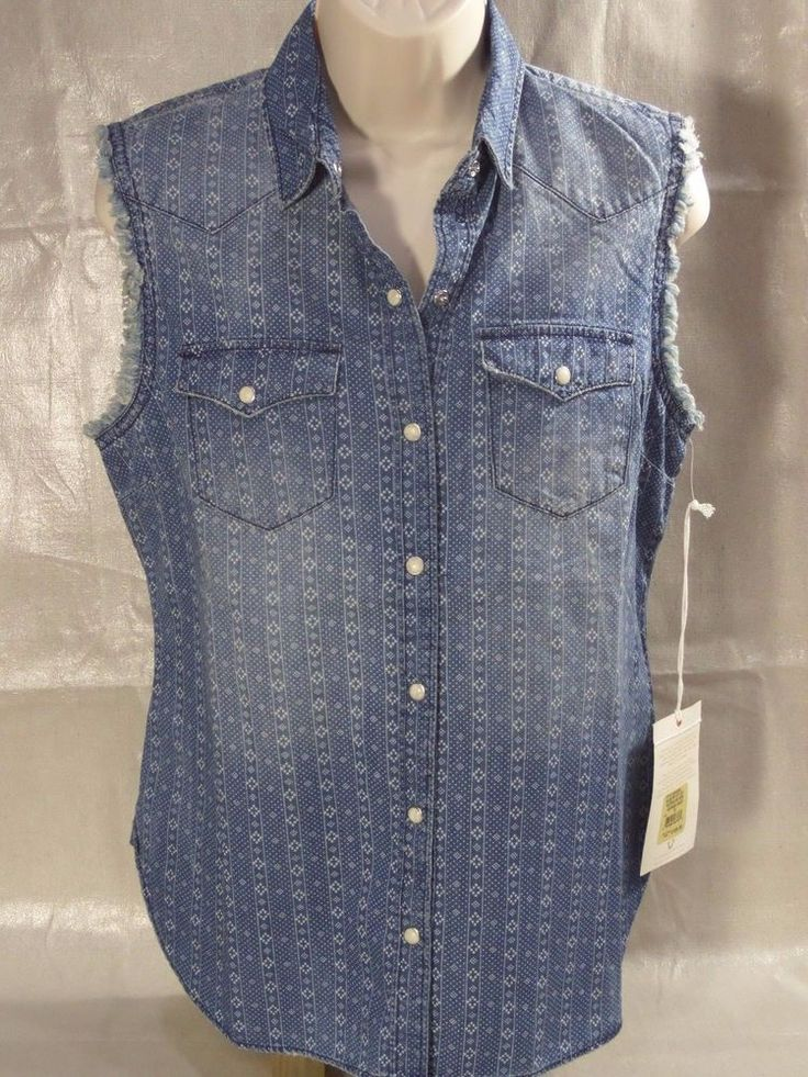 TRUE RELIGION sleeveless western GEORGIA shirt blue white women's WVHA394IK #TrueReligion #Western #Casual