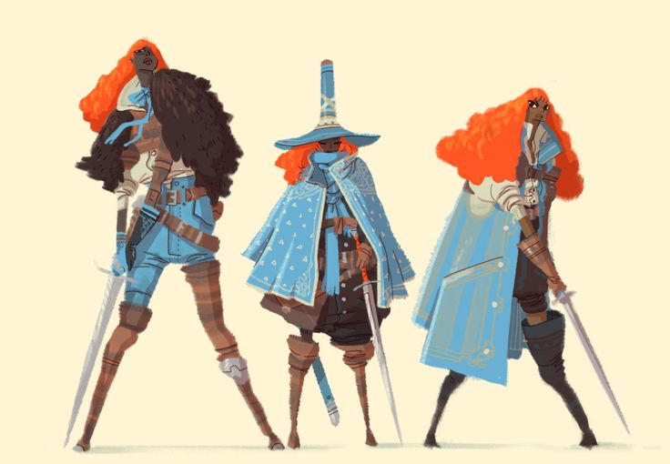 Deadlines and stuff has made September fly by, but Three Blades is finally being reprinted right as I type this! It, along with the reprint of Hanna K's Third Wheel, is available for pre-order at http://peowstudio.com/! Oh, this is a group of swordies from the book that I haven't posted earlier!