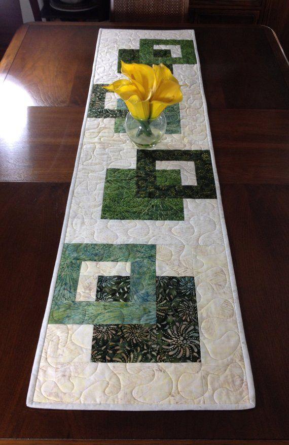 Incredible Modern Batik Table Runner Handmade Green Quilted Download Free Architecture Designs Xaembritishbridgeorg
