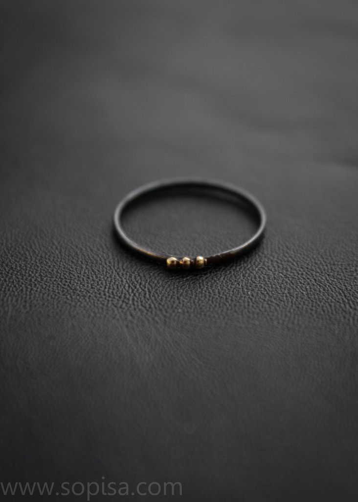 Sirena ring - oxidized sterling silver with 14k gold by Sopisa #blackjewelry #rings #14kgold