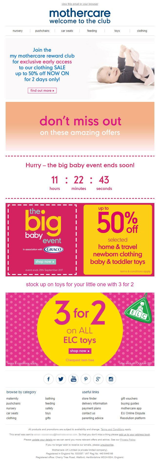 Event Email with Countdown Timer from Mothercare #EmailMarketing #Email #Marketing #Event #Countdown #Timer
