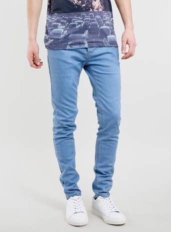 SKY BLUE COATED STRETCH SKINNY JEANS