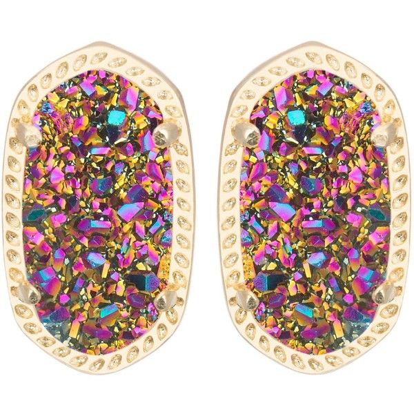 Amazon.com: Kendra Scott Darling Ellie Multi Color Drusy Stud Earrings... ($65) ❤ liked on Polyvore
