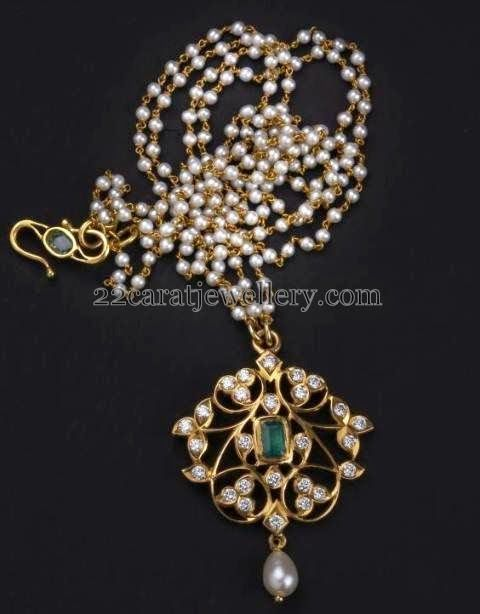 Jewellery Designs: Thin Diamond Locket With Pearls