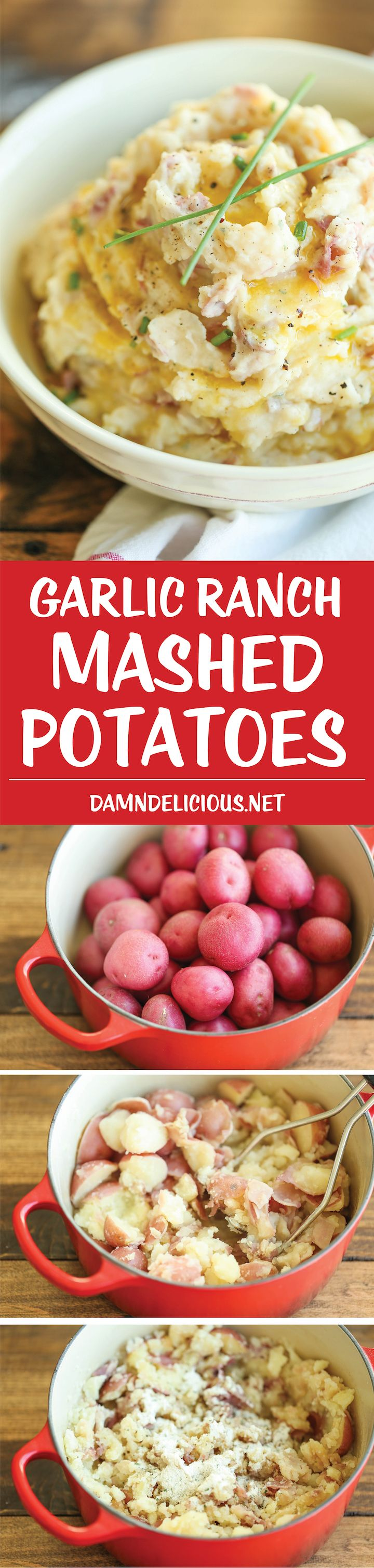 Garlic Ranch Mashed Potatoes - All you need is 5 ingredients and 10 min prep work for the BEST and EASIEST mashed potatoes ever! A must for the holidays!